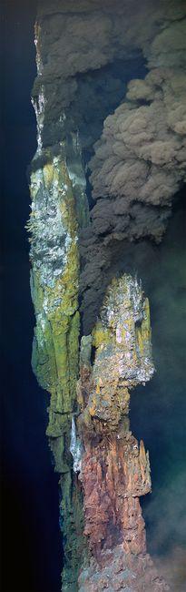 « Medea » (12 mètres de hauteur) fait partie des sources hydrothermales découvertes dans l'océan Pacifique. © Lucas Kavanagh, Établissement océanographique Woods Hole