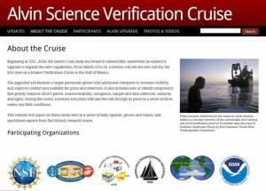"""Cliquez sur l'image pour accéder au site Web """"Alvin Science Verification Cruise"""