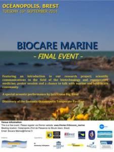 Affiche de la réunion finale du projet BIOCARE MARINE