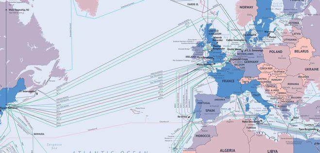 Carte mondiale des câbles sous-marins (détail océan Atlantique) © TeleGeography