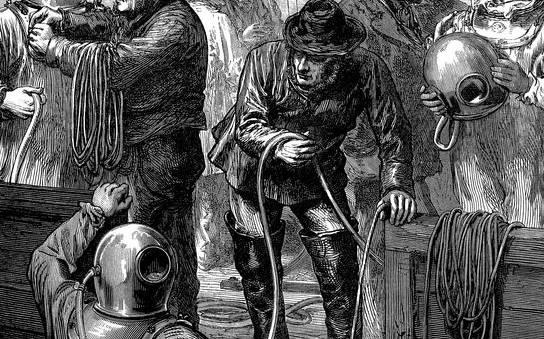 En 1873, des plongeurs équipés du scaphandre de SIEBE interviennent lors du naufrage du Northfleet.© Illustrated London News