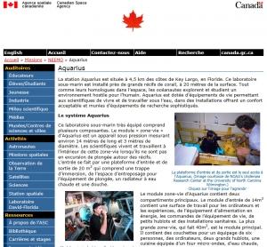Agence Spatiale Canadienne - Le laboratoire sous-marin Aquarius