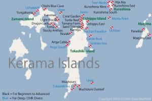 Carte des sites de plongées (débutants et confirmés) sur les îles Kerama © Dive Shop Bluefield