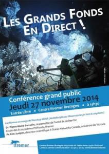"""Affiche de la conférence """"Les grands fonds en direct !"""" le 27 novembre à Ifremer Brest © Ifremer"""