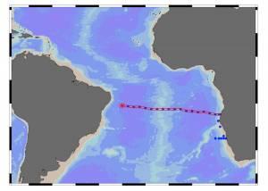 Carte indiquant la zone où a été détecté le nuage de fer (point rouge) © Abigail Noble, Woods Hole Oceanographic Institution