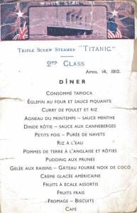 Menu du dîner du 14 avril 1912 pour les passagers de 2e classe © Collection Association Française du Titanic
