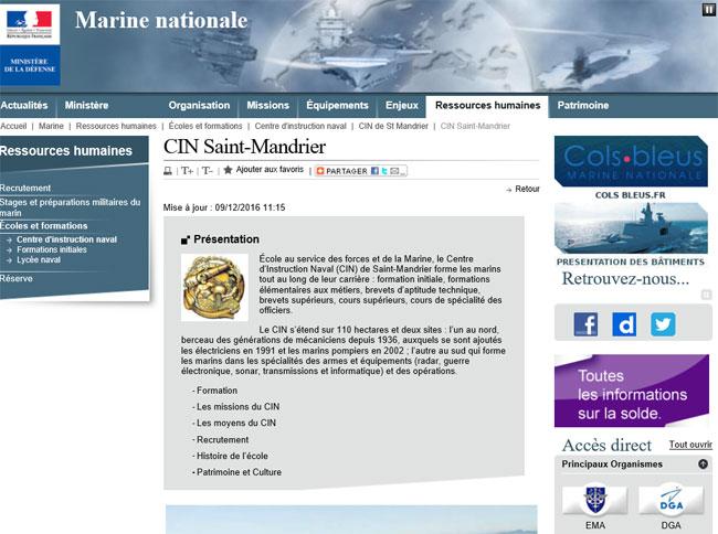 Cliquez sur l'image pour accéder au site Web du Centre d'Instruction Navale de Saint-Mandrier