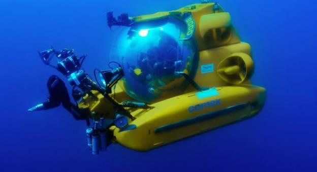 Le sous-marin Remora 2000 conçu par la Comex et exposé à La Cité de la Mer © COMEX