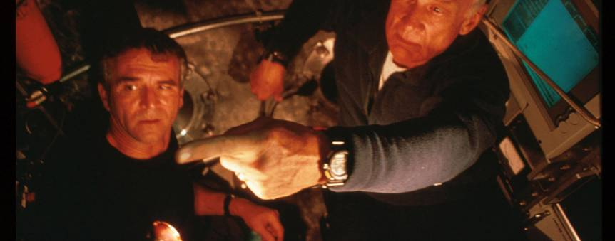L\'astronaute Buzz Aldrin avec Paul-Henri Nargeolet dans le sous-marin français Nautile © PH Nargeolet