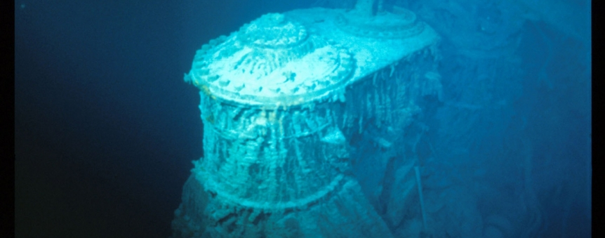 Epave du Titanic : le cylindre haute pression de la machine alternative tribord © RMS Titanic