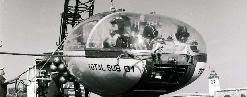 Le sous-marin de la Comex Total Sub à Bendor en 1969 © A. Tocco/Comex
