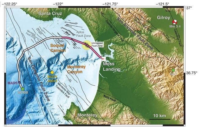 Les chercheurs ont utilisé 20 kilomètres (en rose) d'un câble sous-marin à fibre optique de 51 kilomètres comme réseau sismique. © Nate Lindsey, UC Berkeley