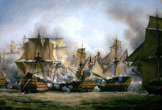 Peinture de Louis-Philippe Crépin, Le Redoutable à Trafalgar, 1807, Musée national de la Marine. Le Redoutable (un vaisseau de 74 canons, au centre) aux prises avec le HMS Temeraire (à sa gauche) et le HMS Victory (à sa droite).