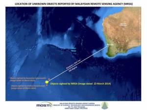 Carte localisant les nouveaux débris du Boeing 777 de Malaysia Airlines par rapport à ceux repérés précédemment par les satellites chinois et australiens