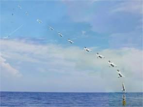 Lancement à partir d'un sous-marin militaire en plongée du drone aérien XFC-UAS (eXperimental Fuel Cell Unmanned Aerial System © NAVSEA-AUTEC