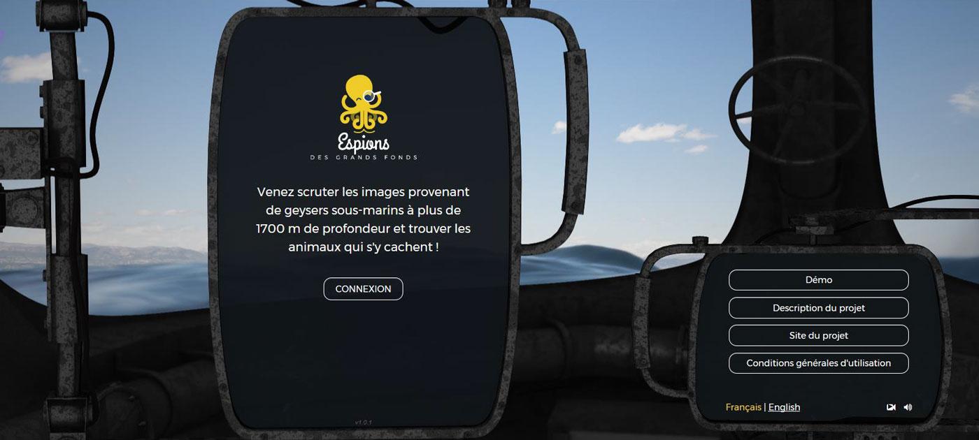 Cliquez sur l'image pour accéder au jeu Espions des grands fonds !
