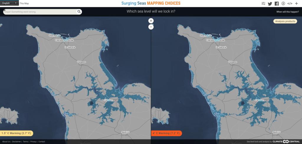 Simulation des zones touchées par la montée des eaux dans le Cotentin (+1,5°C ou +4°C) © https://choices.climatecentral.org/
