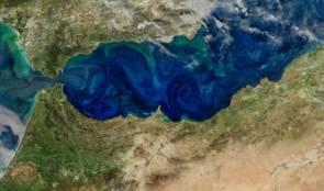 Efflorescence algale (en vert) en Méditerranée, sur les côtes espagnoles ©Norman Kuring, NASA's Ocean Color web.