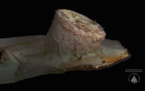 """Modèle 3 D de la chaudière """"B"""" du """"Titanic"""" (qui mesurait environ 7 mètres de haut) créé par AIVL-WHOI / RMS Titanic, Inc. © RMS Titanic, Inc., Maryann Kovacs, AIVL-WHOI 2019"""
