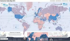 Carte mondiale des câbles sous-marins © TeleGeography
