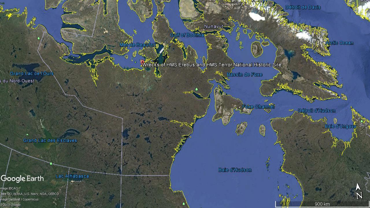 Les épaves du HMS Erebus et du HMS Terror ont été découvertes dans le Nunavut, un territoire du Nord du Canada © Google Earth