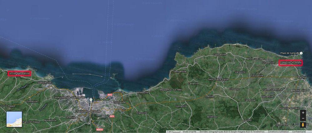 Le DRASSM répertorie les épaves contemporaines localisées entre Urville-Nacqueville et Gatteville-le-Phare