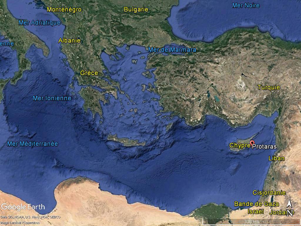 L'épave antique a été découverte au large de Protaras (Chypre) © Google Earth