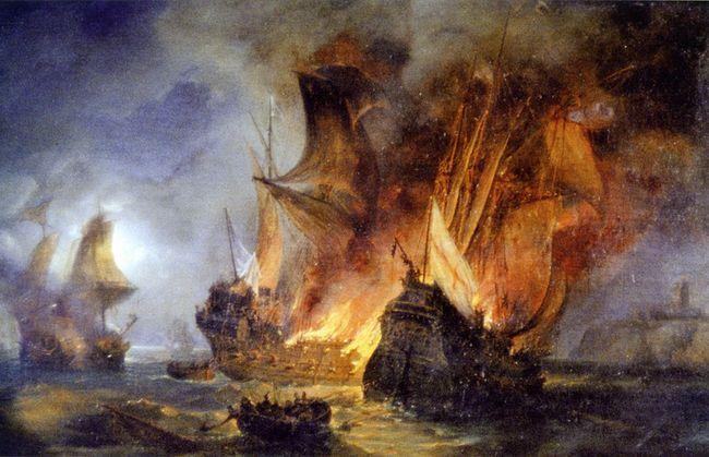 Huile sur toile peinte en 1838 représentant le Combat de La Cordelière contre le navire anglais Le Régent, en 1512, au large de Saint-Mathieu. © Musée des beaux-arts de Brest