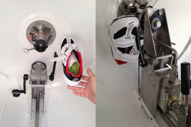 Le sous-marin sera mu par ses deux pilotes qui pédaleront en relais. Ici les trains de pédalage avant et arrière. Il y a seulement 1 ou 2 cm d'espace entre les pieds et la coque. © www.projetpoissonpilote.com