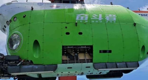 Le sous-marin habité chinois Fendouzhe a atteint, le 10 novembre, Challenger Deep, le point le plus profond de la fosse des Mariannes, à 10 909 mètres © CCTV+
