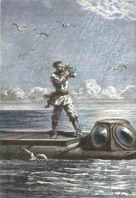 """Jules Verne """"Vingt mille lieues sous les mers"""", dessin par Alphonse de Neuville (1835—1885) ou Édouard Riou (1833-1900)"""