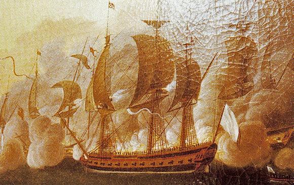 L'Hermione durant un combat naval © Auguste Louis de Rossel de Cercy - Wikimedia commons