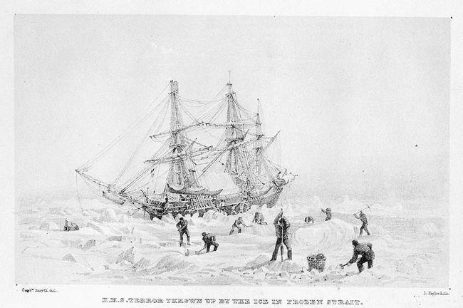 Le HMS Terror pris dans les glaces esquissé par le lieutenant William Smyth lors d'une mission précédente (1836-1837) © National Archives of Canada / C-029929