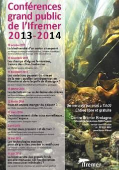 Affiche Ifremer Brest - Conférences grand public 2013/2014