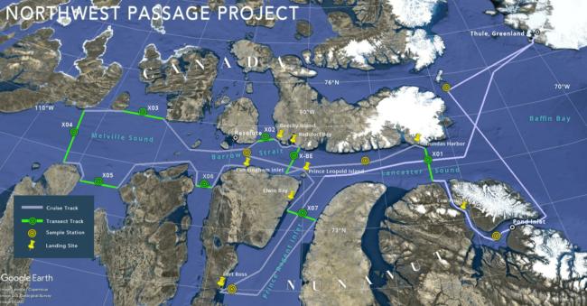 Itinéraire du brise-glace Oden ©Northwest Passage Project