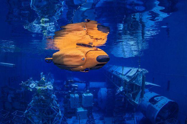 Le robot Aquanaut avant qu'il ne se transforme et ne déploie sa tête et ses bras © Houston Mechatronics