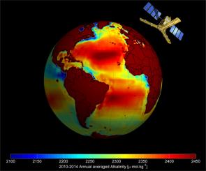 L'acidité des océans observée grâce au satellite SMOS (Soil Moisture and Ocean Salinity) de l'Agence Spatiale Européenne ©Ifremer / ESA / CNES