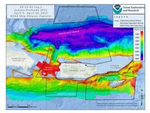 Cartographie des zones explorées : celles encadrées en noires sont prioritaires © Image courtesy of NOAA Okeanos Explorer Program