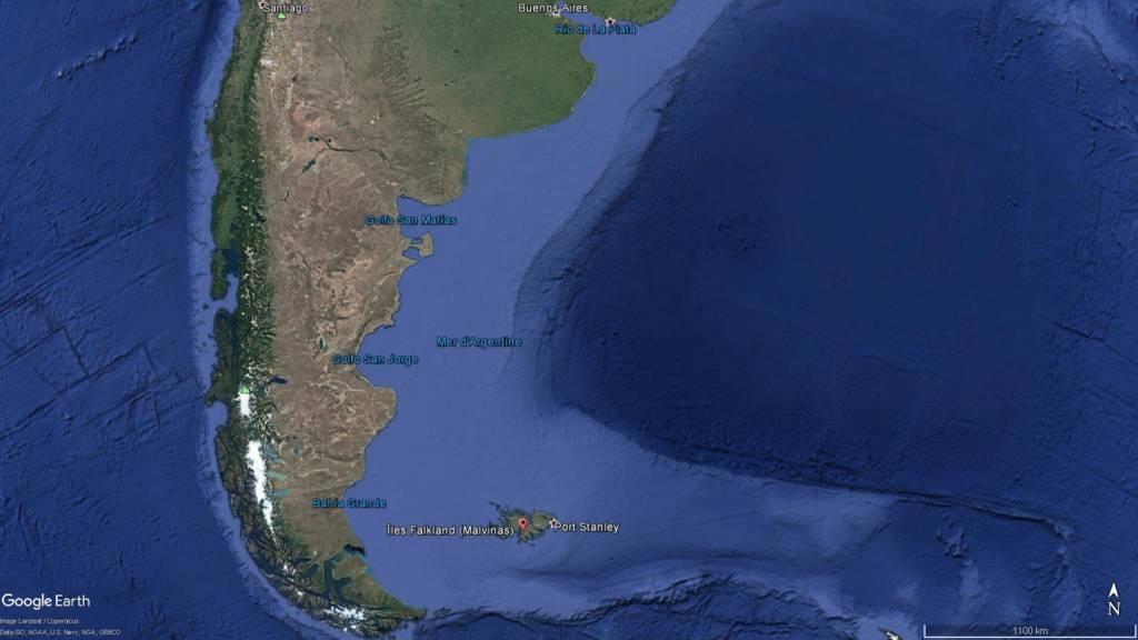 Le célèbre navire de l'amiral Graf von Spee a été retrouvé au large des îles Malouines © Google Earth