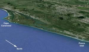 """L'équipe a étudié un long tronçon de 8 km dans l'aire marine protégée """"Canaveral national Seashore"""" entre le Cap Canaveral la ville de Ponce Inlet ©"""