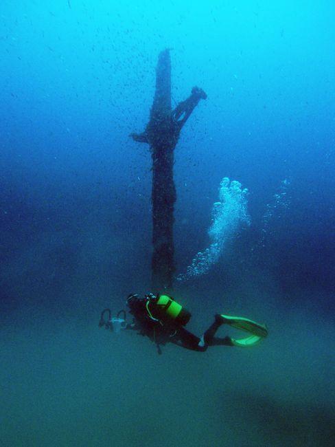 Le mât encore dressé de l'Alice Robert : un des éléments remarquables de l'épave © Francois Guillon - Wikimédia Commons