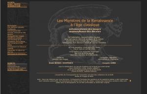 Les Monstres de la Renaissance à l'Age Classique : métamorphoses des images, anamorphoses des discours