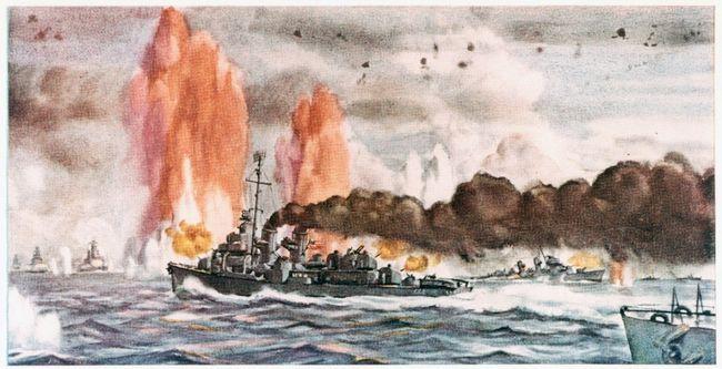Aquarelle représentant la bataille de Samar réalisée par le Commandant Dwight C. Shepler © Naval History and Heritage Command
