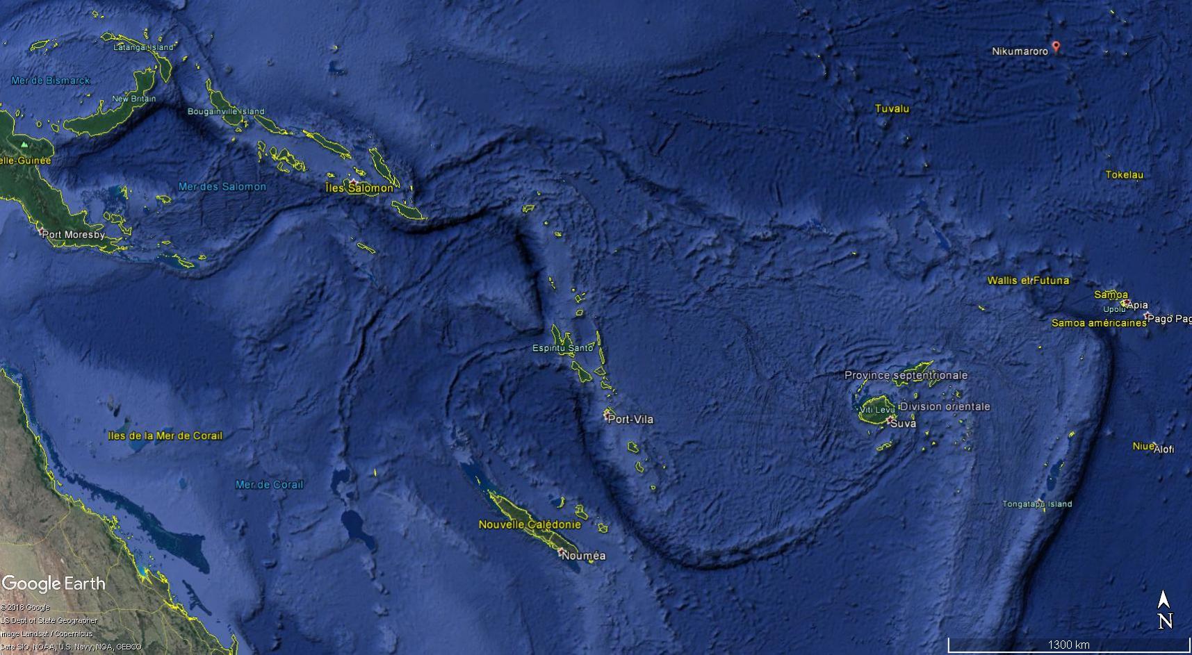 L'île Nikumaroro fait partie de l'archipel des Kiribati, dans l'océan Pacifique. ©Google Earth