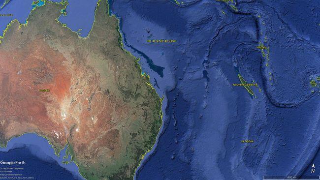 L'ensemble de la zone économique exclusive autour de la Nouvelle-Calédonie constitue le Parc Marin de la Mer de Corail. © Google Earth