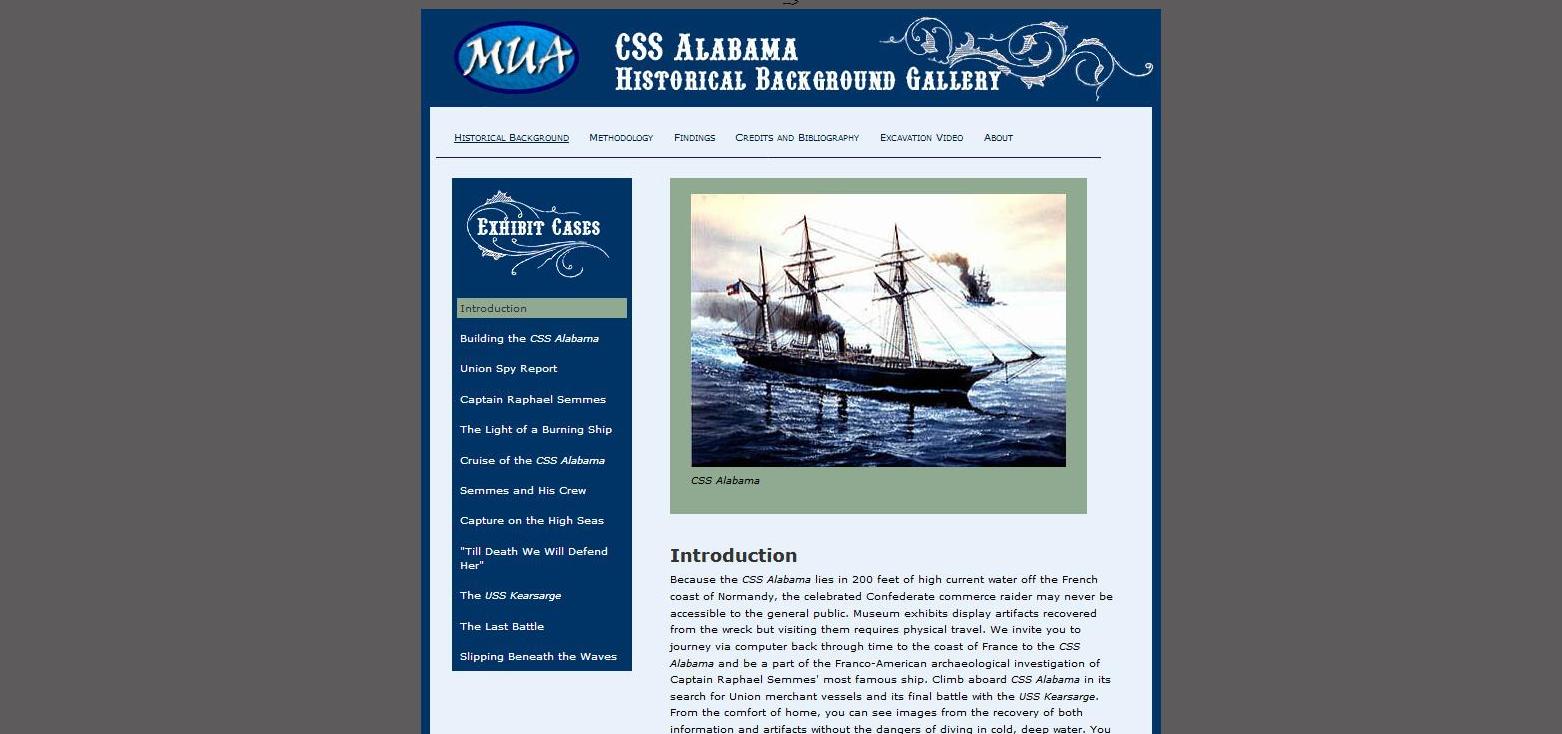 Cliquez sur l'image pour accéder au site du Museum Underwater Archeology - CSS Alabama