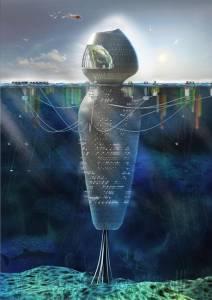 """""""Living the reef"""" la cité flottante imaginée en 2014 par l'architecte espagnol Marcos Ortega Davilla © Marcos Ortega Davilla"""