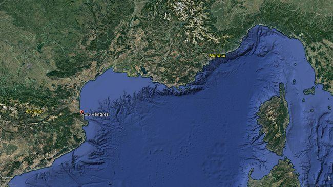 L'épave gît à 47 mètres de profondeur au large de Port-Vendres © Google Earth