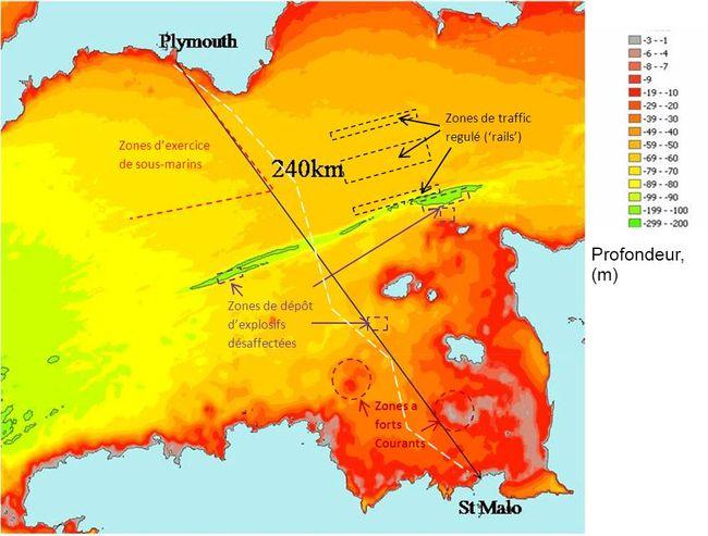 Itinéraire suivi par le sous-marin à pédales entre Plymouth et Saint-Malo © www.projetpoissonpilote.com