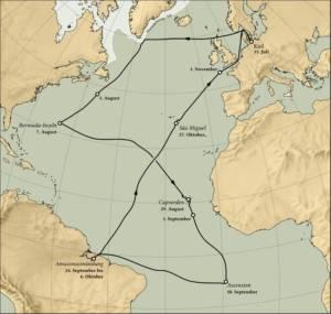 Carte de l'expédition Plancton menée par le scientifique allemand Victor Hensen en 1889 © Université Christian Albrecht de Kiel